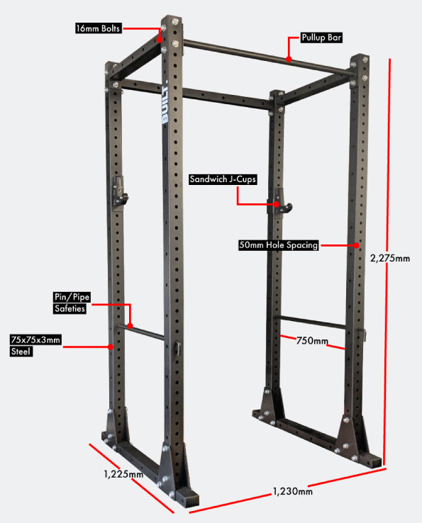 Built Gear Power rack with dimensions